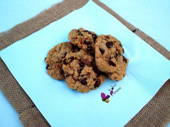 galletas de avena, chocolate y nueces
