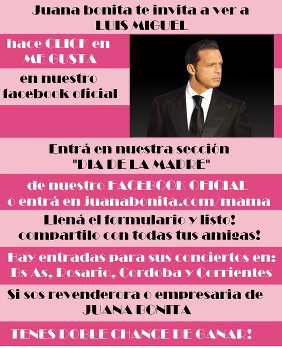 Chicas estamos sorteando entradas para Luis Miguel. Podes ir a los shows de Bs As, Cordoba, Rosario y Corrientes