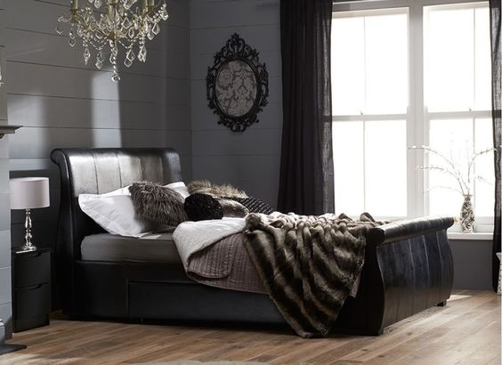 Dark luxury, a black bed frame draped with dark throws | Manhattan Bed Frame - Black