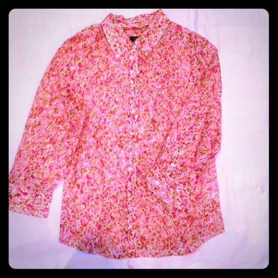 Multi color pink button up shirt- size 8P- talbots Multi color pink button up shirt- size 8P- talbots Talbots Tops Blouses