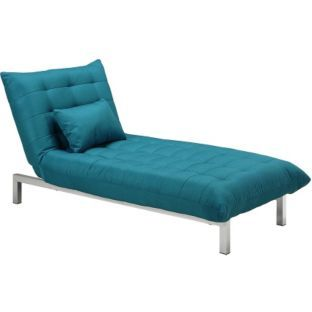 Buy durdham fabric chaise longue sofa bed teal at argos for Chaise lounge argos