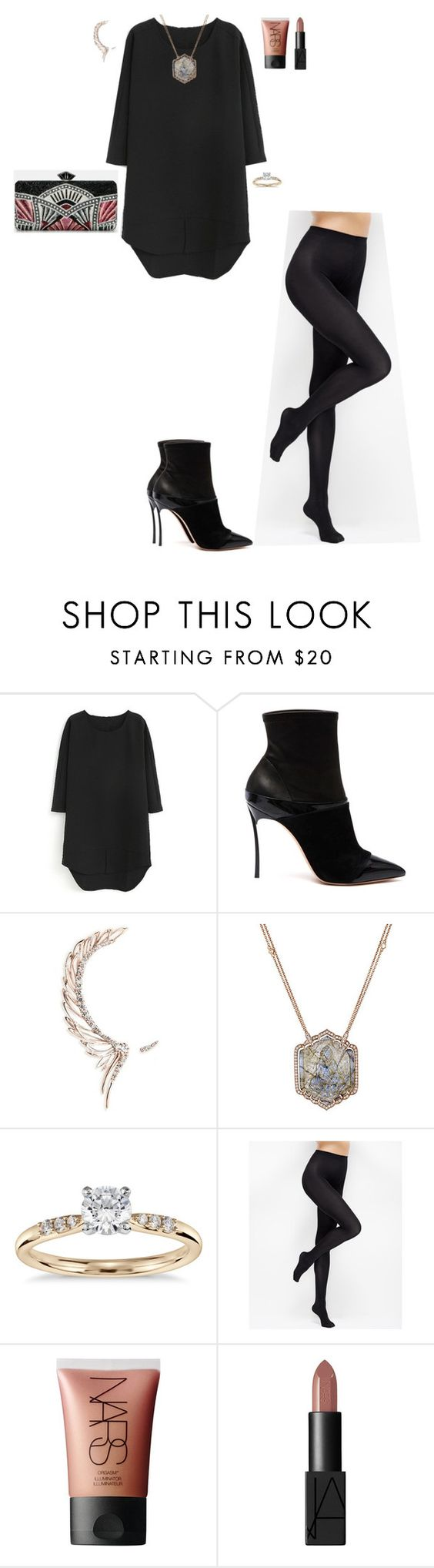 """""""SPECIAL DINNER"""" by stylev ❤ liked on Polyvore featuring Casadei, Cristina Ortiz, Sara Weinstock, Blue Nile, Judith Leiber, Ann Taylor and NARS Cosmetics"""