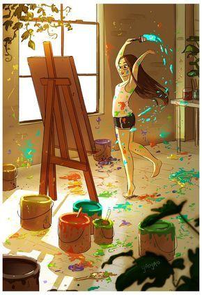 A ilustradora e animadora Yaoyoa Ma Van As, criou uma série de ilustrações mostrando como é morar sozinho para ela. Desde aproveitar uma xícara de chá em um dia chuvoso, até brincar de pique esconde com seu companheiro canino.