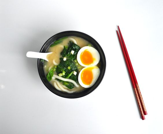 miso soup with a soft boiled egg
