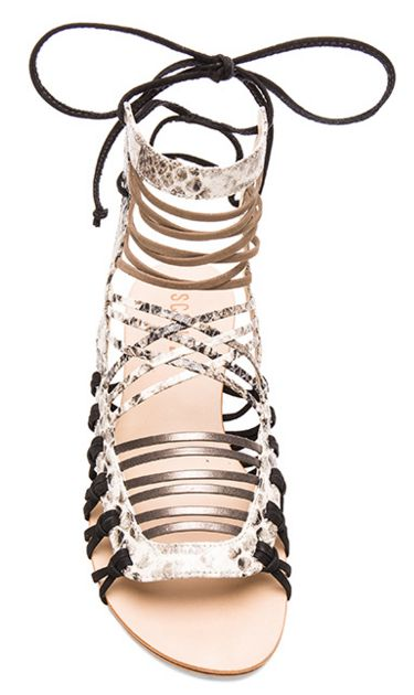 Love these strappy sandals with metallic detailing