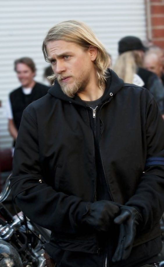 Charlie Hunnam--I miss Jax's long hair with out the stuff slicking it back.  Back when his locks could flow in the breeze.