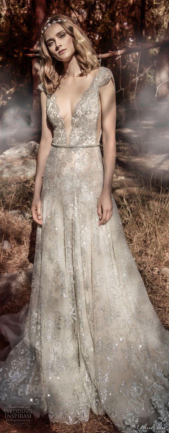 deep plunging v neck full embellishment elegant a line wedding dress