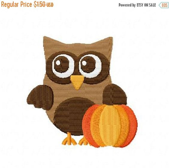 Thanksgiving Owl and Pumpkin Hoop Size: 4 x 4 Design Size: 2.78 x 2.75 SC: 8421  In order to be able to use these files you must have an embroidery machine and the software required to transfer from computer to machine. If you need to combine letters or different images you will require additional software. These items are digital embroidery patterns, not patches that you sew on. Formats available are: PES, DST, HUS, JEF, SEW, VIP, XXX, EXP. Each of the formats will be included in the ZIP…