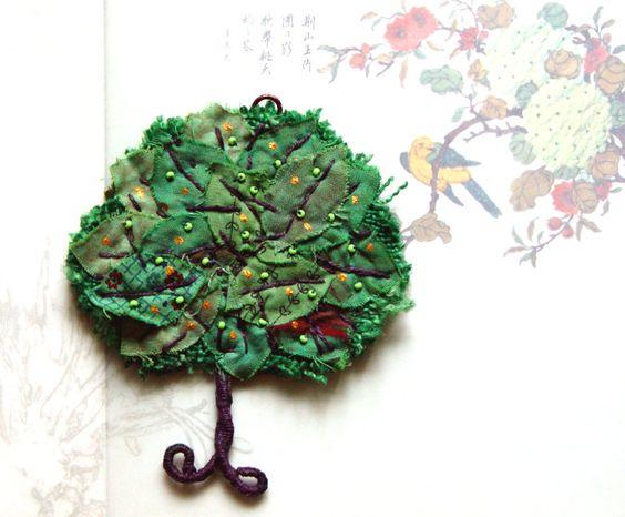 GREEN TREE, Home Decor, Textile Ornament, Eco Friendly Wall Decor, Gift Idea. $37.00, via Etsy.