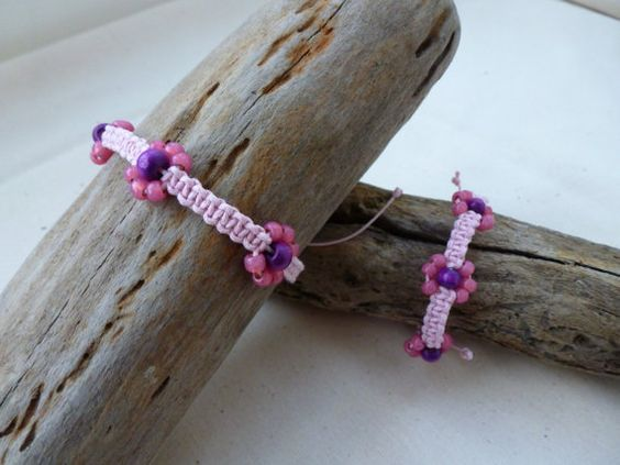 Mother and Daughter Macramé Bracelet with Flowers