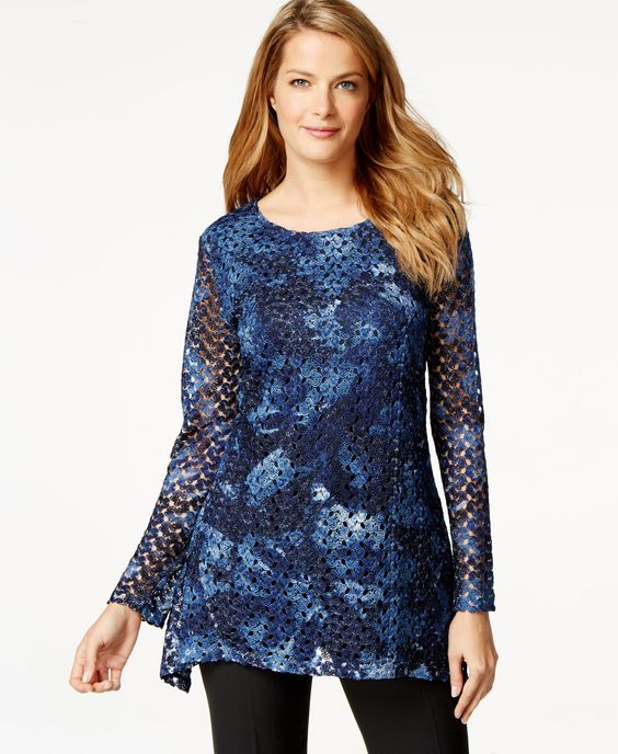 Style & Co. Lace Handkerchief-Hem Top, Only at Macy's
