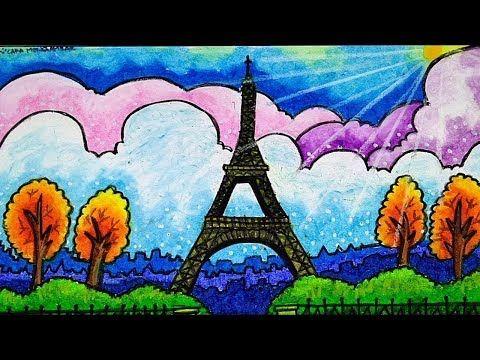 Cara Menggambar Dan Mewarnai Menara Eiffel Paris Prancis Gradasi