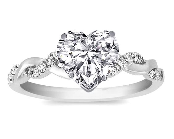 DREAM RING  could not be more perfect!! Heart Shape Diamond Petite twisted pave band Engagement Ring