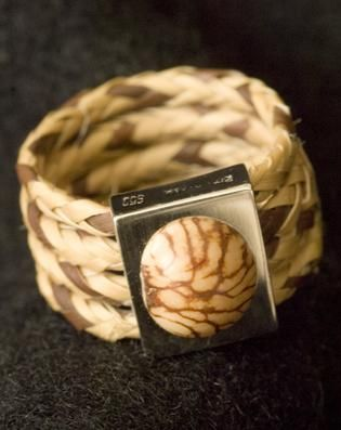 Silver, acai and stripey palm fibre ring, from Jungle Berry's fair trade jewelry collection. As featured in Organic Life Magazine.