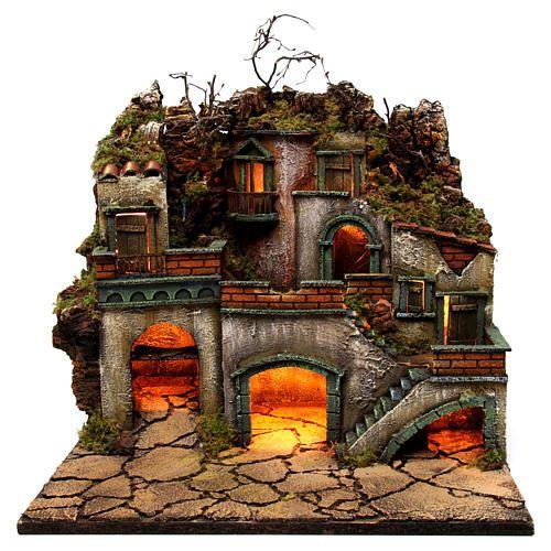 Borgo con luce per presepe napoletano di 6-8 cm 45x50x40 cm