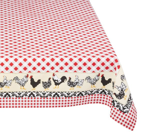 Amazon.com   DII 100% Cotton, Machine Washable Tablecloth Chicken Print  60x84 #