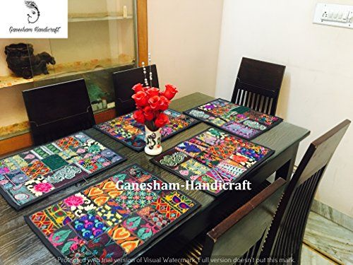 Ganesham Handicraft Indian Handmade New Vintage Patchwork Dinning Table Cotton Table Mats Table Runner Table Cloth Dinning Table Table Pads Kitchen Dinning