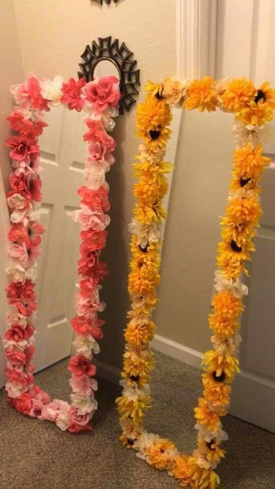 Pin By The Fuzzy Pineapple On Diy Art Flower Room Decor Flower Mirror Diy Wall Decor For Bedroom