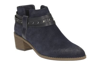 Clarks Breccan Shine - Navy Suede - Womens Casual Boots | Clarks