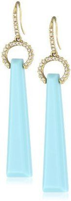 """ShopStyle: ABS By Allen Schwartz """"Tropic Traveler"""" Gold-Tone Linear Turquoise Color Earrings"""