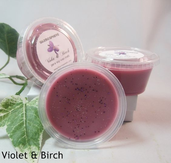 Violet & Birch:  violet & white birch with clove, orchid, cedar musk and amber. A calming and soothing fragrance.  www.Waxmosphere.com