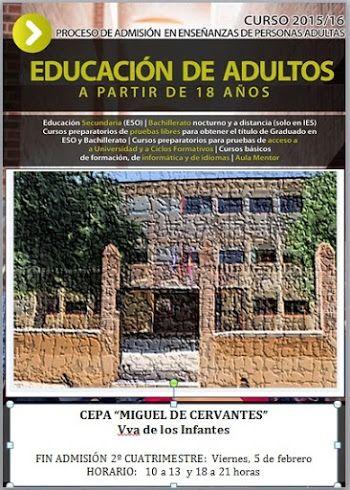"""El CEPA """"Miguel de Cervantes"""" de Villanueva de los Infantes abre el período extraordinario de admisión de alumnos"""