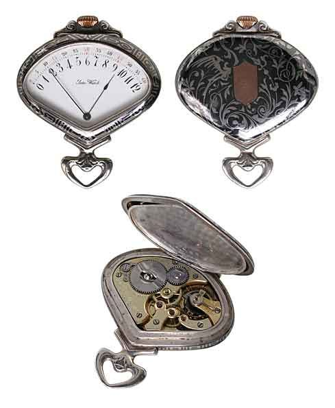 Fine Niello Work Sector Watch  Art Nouveau Retrograde Record & Co Silver Pocket Watch, Tramelan, Swiss