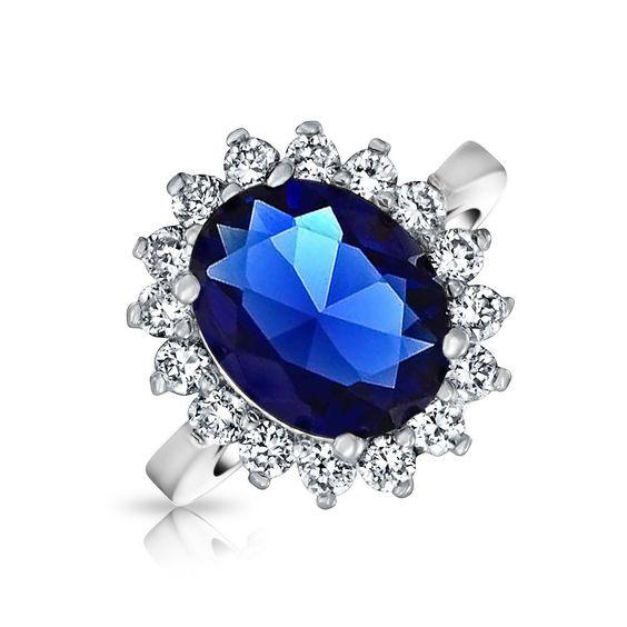 Bling Jewelry - Anello di fidanzamento ispirato a Kate Middleton, zirconia cubica color zaffiro: Amazon.it: Gioielli