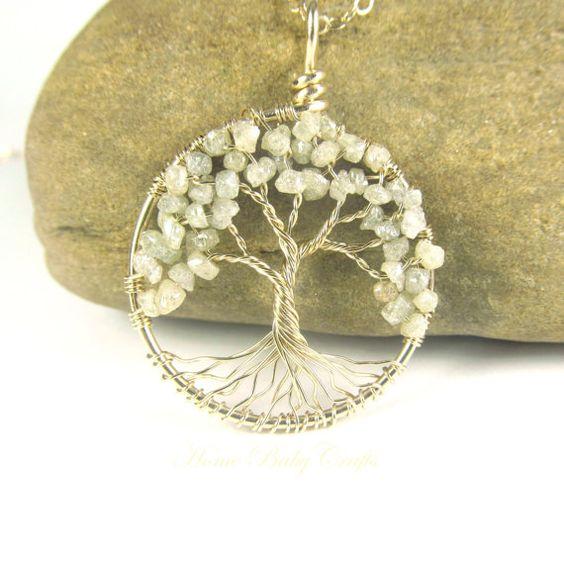 Diamond Tree of Life Necklace CUSTOM GENUINE by HomeBabyCrafts