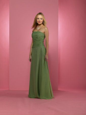 Bridesmaid dress made of chiffon. Thoroughly ruched strapless bodice gives an on trend look. A-line full skirt finishes with floor length. Colors available shown in Color Options. Custom-to-measurement for any size.