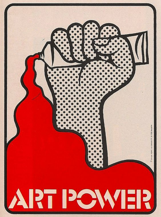 Werner Jeker elementary art education setting up the room Lichtenstein inspired poster