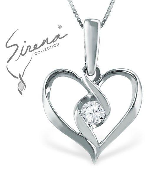 Sirena Heart Pendant in White Gold!