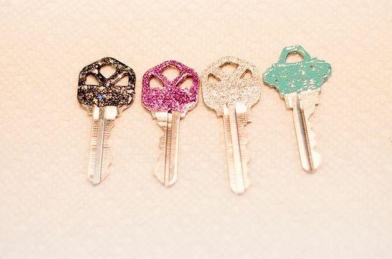 Glitter keys - Use glitter nail polish or Elmer's glue coated with glitter, then coated with clear nail polish.
