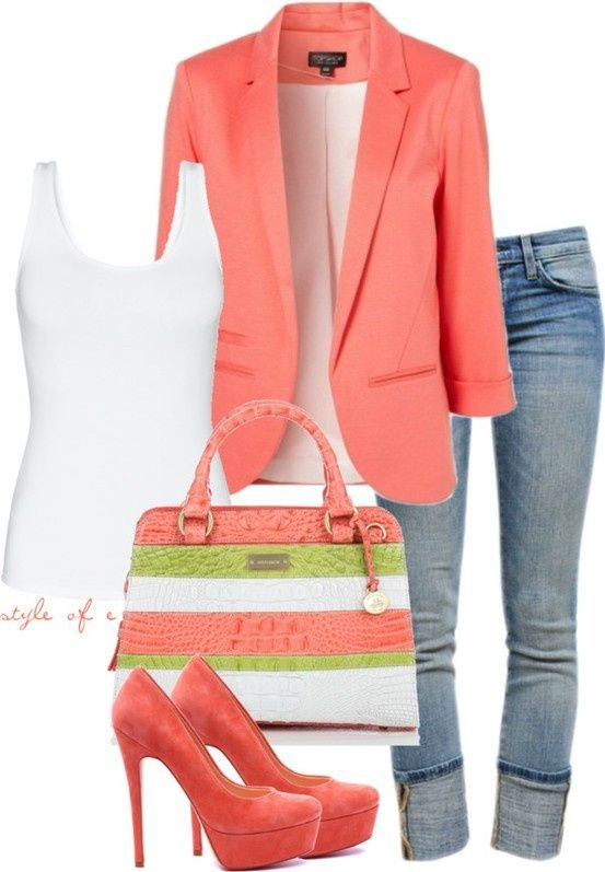 I don't like the purse or the blazer, but of it was skinny, rolled jeans with those pumps and just a plain white tee, this would be a cute outfit and such an easy one to jazz up with fun, bright accessories.