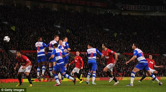 Robin van Persie tries his luck with a free kick but United failed to build on their slim advantage