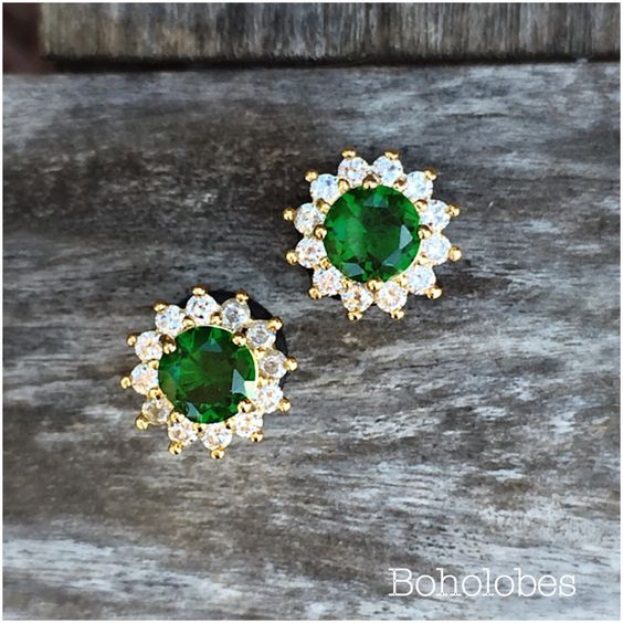 Pair 24k gold plated Faceted emerald zircon crystal plugs for gauged ears: 6g (4mm), 4g (5mm), 2g (6mm), 0g (8mm) by Boholobes on Etsy https://www.etsy.com/listing/255379264/pair-24k-gold-plated-faceted-emerald