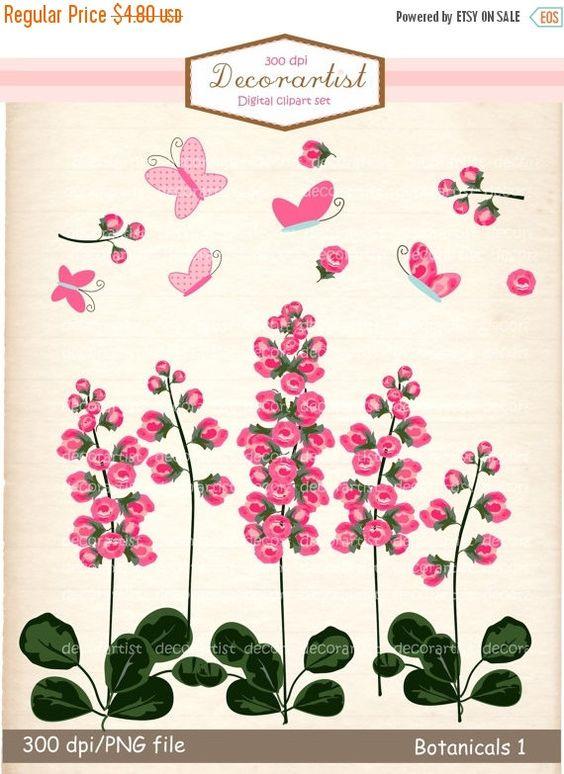 EN+venta+flor+clip+arte+flores+rosadas+por+Decorartistclipart