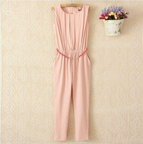 New Summer OL Plus Size Women Clothing Slim Pleated Sleeveless Chiffon Fashion Casual Jumpsuit LY247