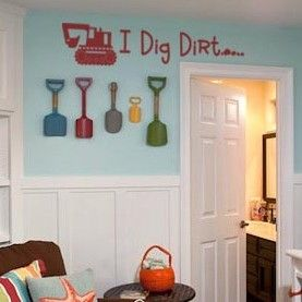 I dig dirt vinyl lettering boys room home decor for Construction themed bedroom ideas