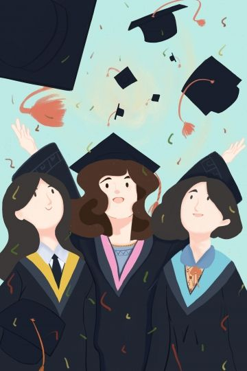 Graduation Bachelor Gown Bachelor Cap Respectively Joy Celebrate Black Illustration Image On Pngtree Free Download On Pngtree Girls Cartoon Art Girly Art Cute Drawings