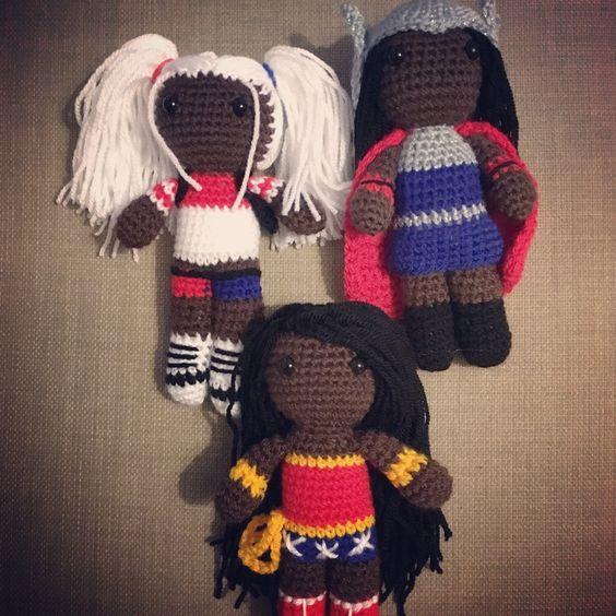 Harley needs her dip dye and tattoo, Thor needs her hammer and Wonder Woman needs her tiara. I have LOVED making these custom orders! #amigurumi #crochet #harleyquinn #thor #wonderwoman #whoruntheworld #diverse #africanamerican  #dc #marvel #pixieplunks