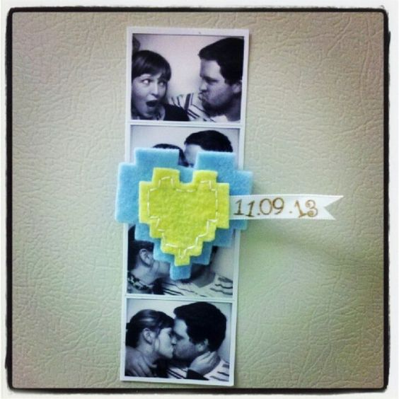 Save the Date with 8-bit heart magnets
