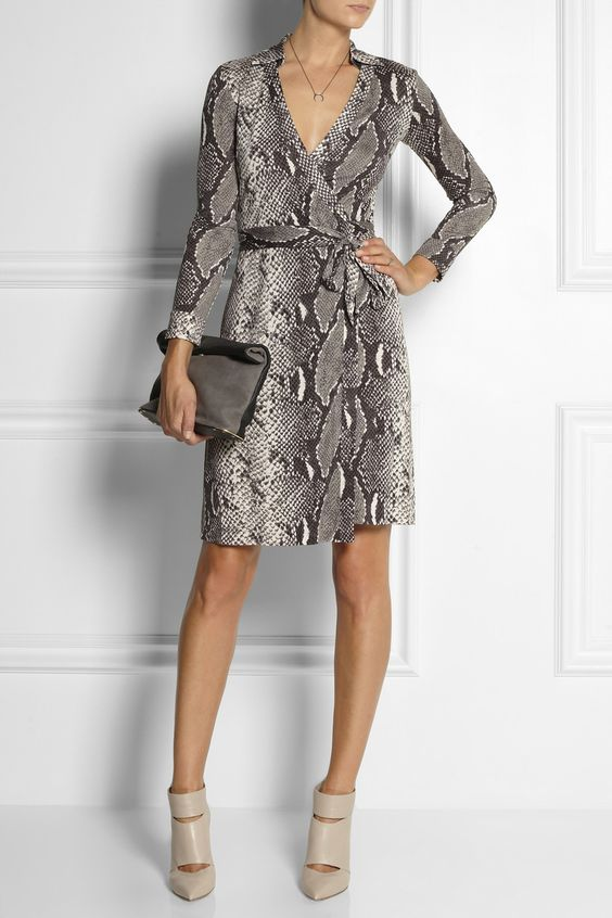 DIANE VON FURSTENBERG New Jeanne python-print silk-jersey wrap dress $368  Iconic New York-based designer Diane von Furstenberg is renowned for her super flattering wrap dresses and bold animal prints. This python-patterned silk-jersey style makes a chic option for work or play. Keep the motif in focus with neutral accessories.   Shown here with: Maria Black necklace and ring, Gianvito Rossi boots, See by Chloé clutch.