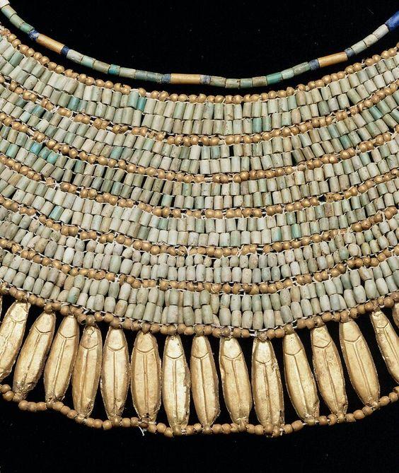 Gold, turquoise, lapis lazuli, and glazed steatite wesekh broadcollar (detail). Old Kingdom. 6th dynasty. Reign of Neferkara Pepy II. 2246–2152 B.C. | Museum of Fine Arts, Boston