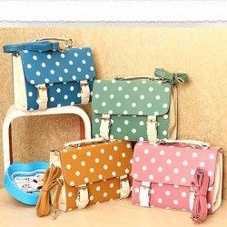 Girl:s Fashion Designer Polka dot Satchel Shoulder Bag Purse Handbag Tote Bag