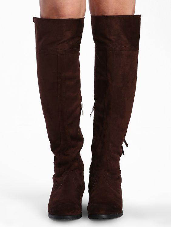 Brown+Tassel+Suede+High+Boots+55.89