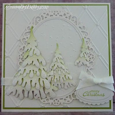 A Scrapjourney: Die cut Trees using Dee's Distinctively dies, Cuttlebug Snow Falling folder - Lovely card by Debby