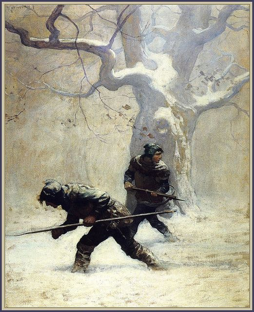 Lawless leading young Dick to his den in the woods, illustration by N.C. Wyeth