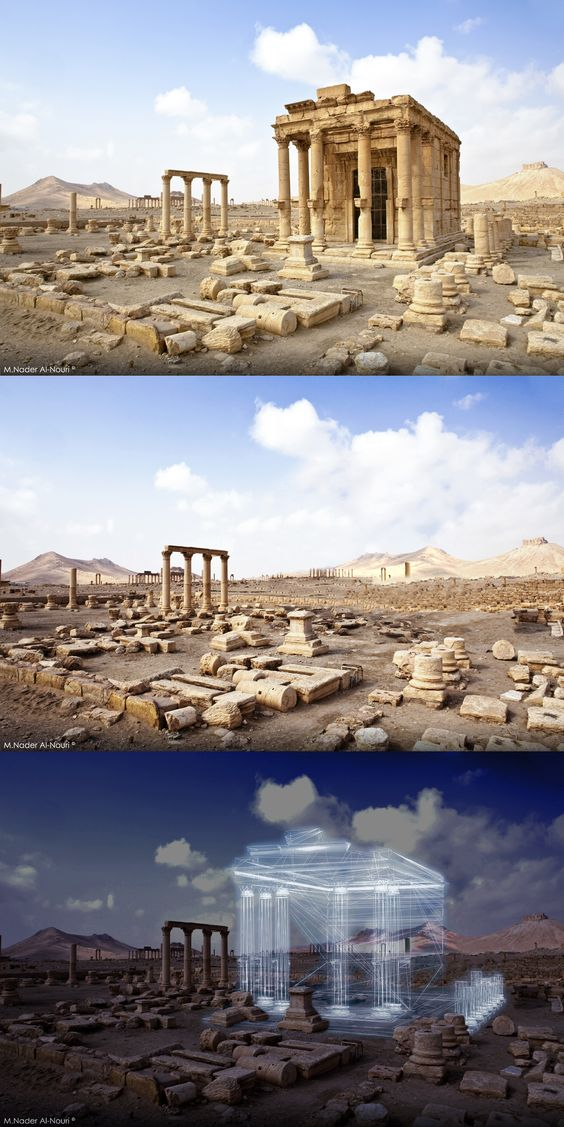 Before and After.  Palmyra Syria -All Rights Reserved-Destroyed -temple of baalshamin - temple - Palmyra after ISIS attack - Syria - war - unesco world heritage - world heritage site - damascus Syria  - bomb temple - restoration  -  rehabilitation - reconstruction - Vision of Palmyra Kingdom - NADER ALNOURI - Hologram tech - Updated record of the ongoing destruction of the temple of baalshamin Palmyra, Syria. Gradually destroyed by Islamic State (ISIL) between 4th October and 3rd November 2015.