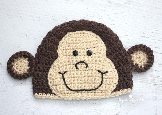 Crochet Monkey Hat Pattern #repeatcrafterme #crochet #crochethat #monkey
